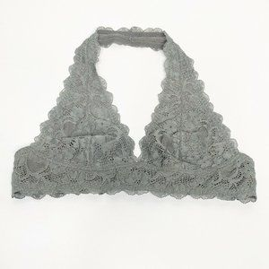 Intimately Free People Gray Halter Lace Bralette